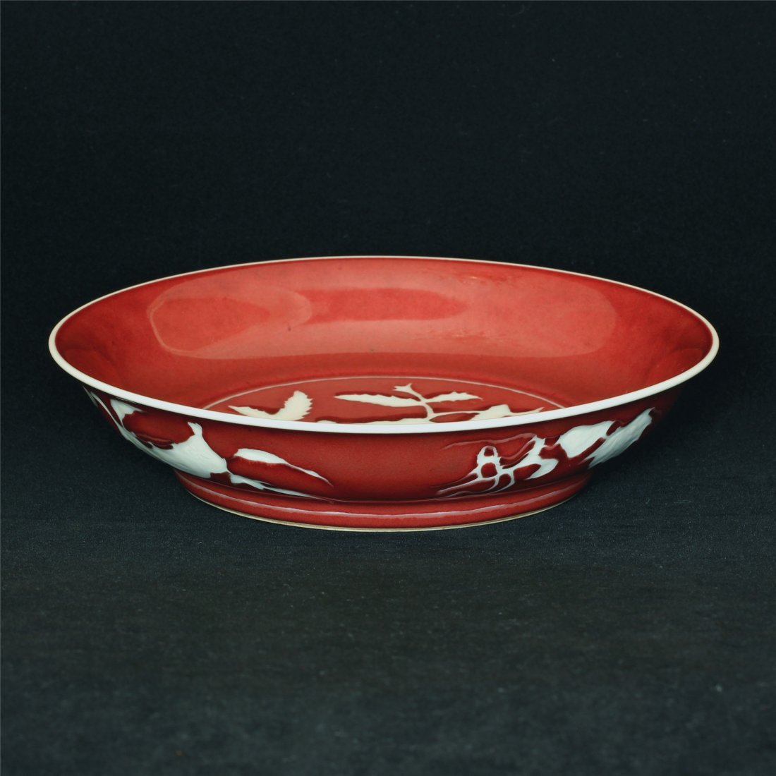 Red glaze porcelain plate of Ming Dynasty XuanDe mark. - 5