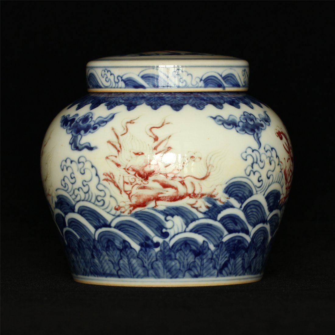 Blue and white & underglaze red porcelain jar of Tian