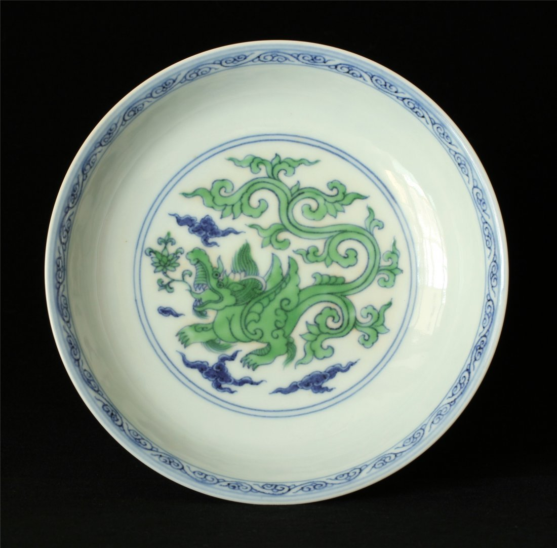Doucai porcelain plate of Ming Dynasty ChengHua mark.