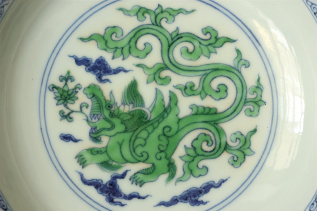 Doucai porcelain plate of Ming Dynasty ChengHua mark. - 2