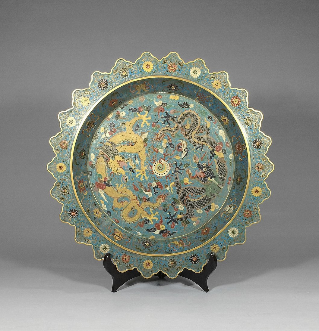 Chinese antique cloisonne large plate