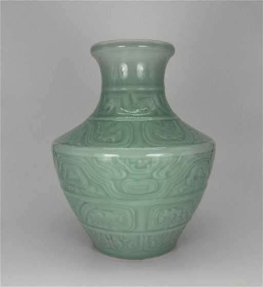 Chinese Antique Celadon Porcelain Carved Vase