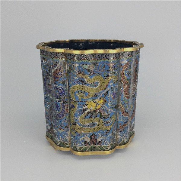 Chinese antique cloisonne gilt dragon brush pot.