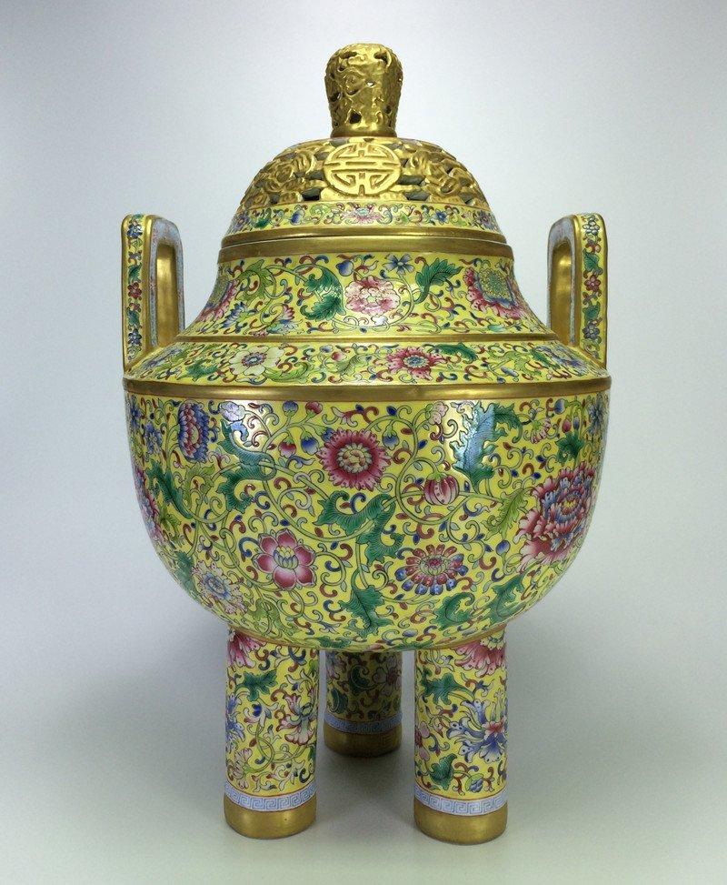 Exquisite gilt enamel porcelain Censer of Qing Dynasty