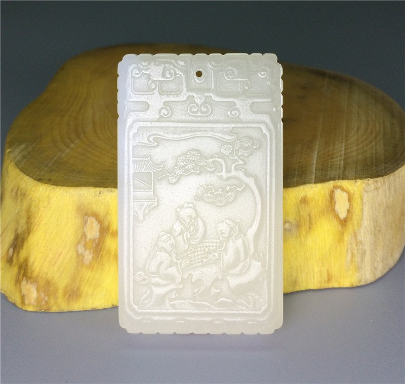 Exquisite Chinese antique white jade carved brand.
