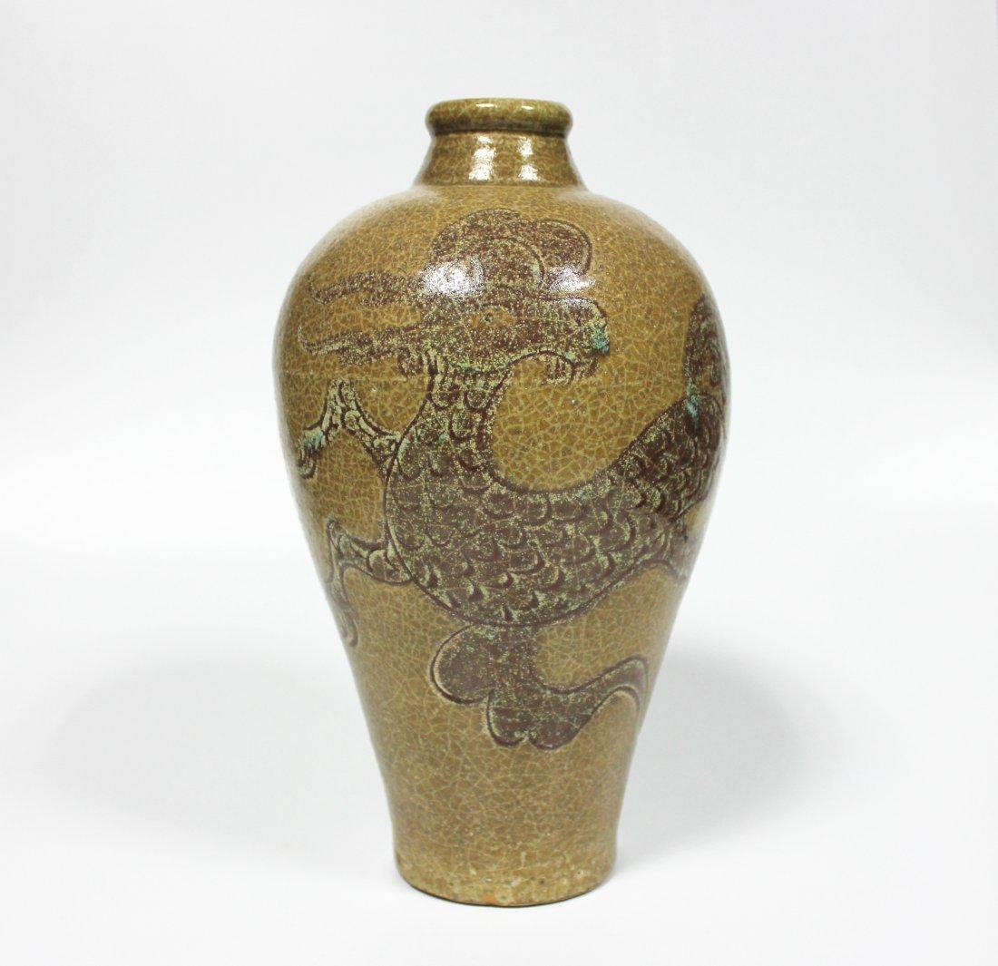 Chinese antique ceramic bottle .