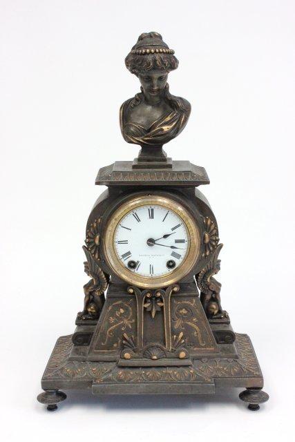 19th c. Victorian gilt metal mantle clock.