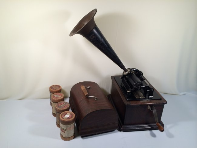 "Antique ""EDISON"" wax cylinder phonograph."