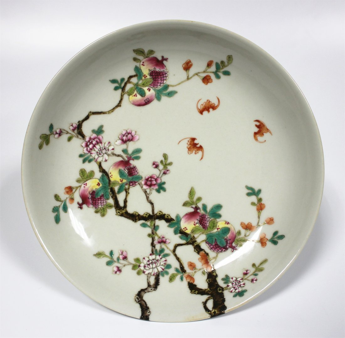 Exquisite famille rose porcelain plate of Qing Dynasty
