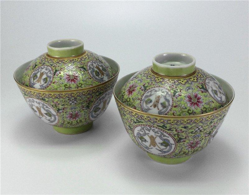 Pair exquisite gilt enamel porcelain bowls of Qing