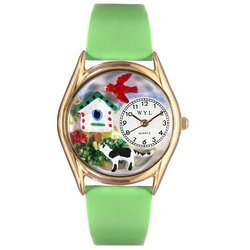 Birdhouse Cat Black Leather And Goldtone Watch #C121000