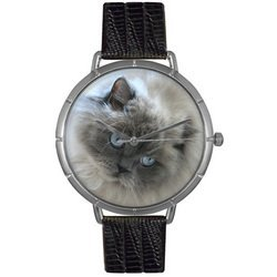 Himalayan Cat Black Leather And Silvertone Photo Watch