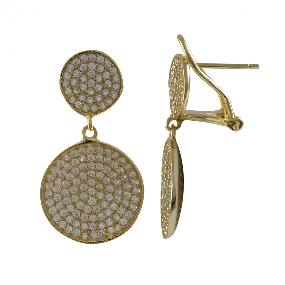 Gold Plated Sterling Silver Post Clip Earrings, Double