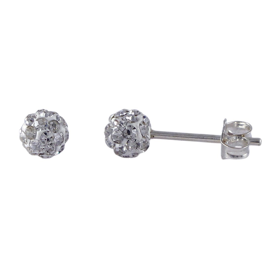 Sterling Silver White 4mm Crystal Ball Post Stud Earrin