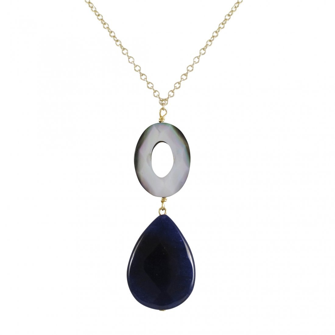 Lapis Teardrop And Grey Mother Of Pearl Open Oval Semi