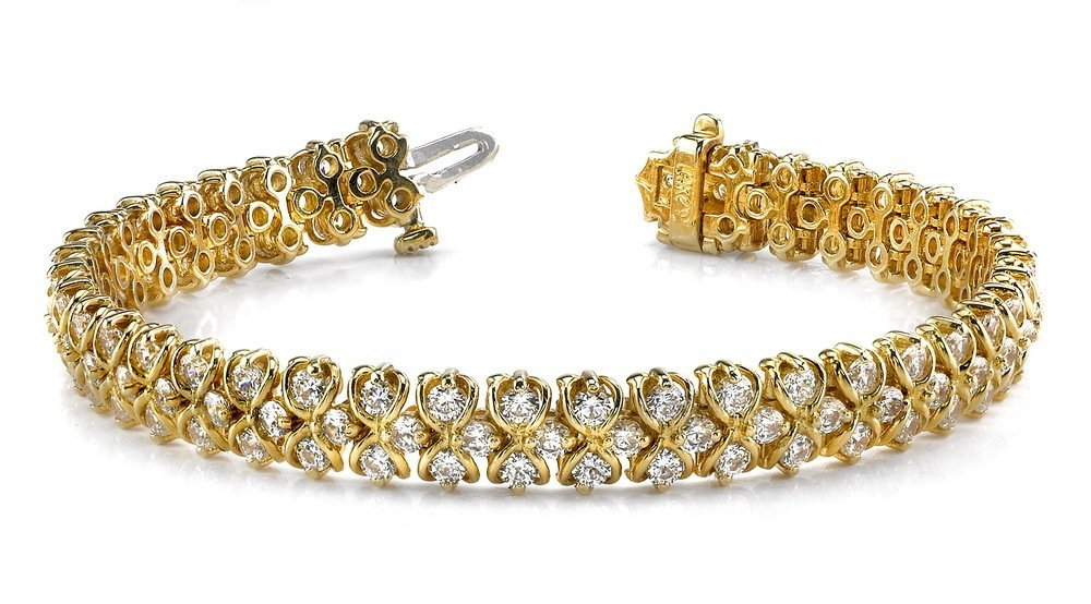 14KT Gold 7 ct Diamond Bracelet Featuring 20 Grams of 1