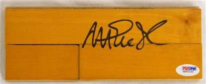 Magic Johnson signed basketball court 3x8 floor piece.