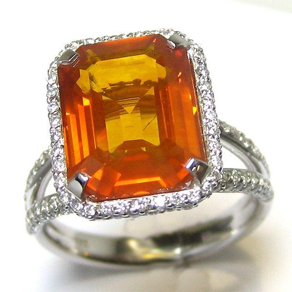 18K WHITE GOLD YELLOW SAPPHIRE AND DIAMOND RING 1YS=6.9
