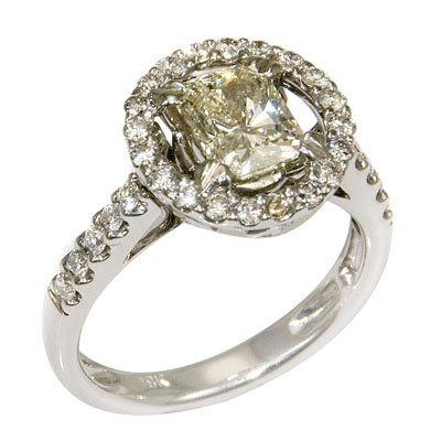 18K WHITE GOLD PRIN & ROUND DIAMOND RING 7.43 GRAMS   1