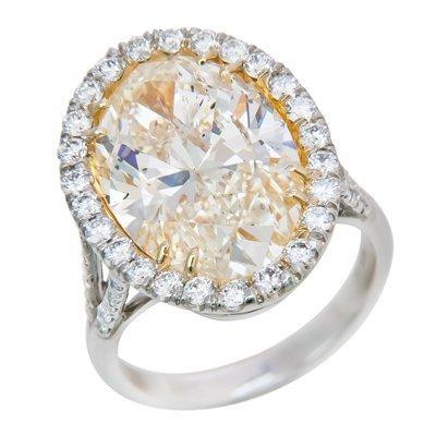 PLAT/18K DIAMOND RING 1OV=10.09 SI2 FY EGL#US911762125D