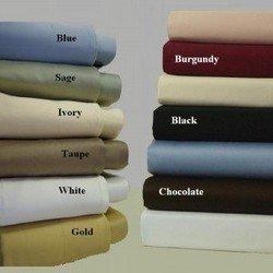600TC Cotton Solid Split King Sheet Set Color: Black