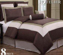 12pc Luxury Bedding Set- Hotel Chocolate/Ivory/Sage Siz