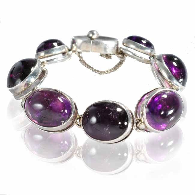 Superb Antonio Pineda bracelet seven linked oval amethy