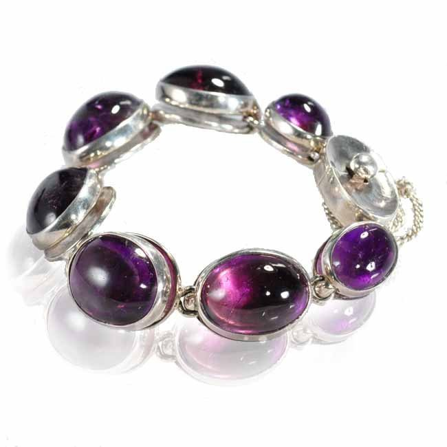 Superb Antonio Pineda bracelet seven linked oval amethy - 2
