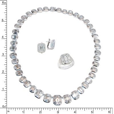 18K DIAMOND NECKLACE EARRING & RING SET 18K DIAMOND NEC