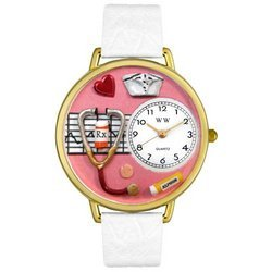 Nurse Red White Skin Leather And Goldtone Watch #G06200
