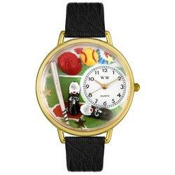 Softball Black Skin Leather And Goldtone Watch #G082002