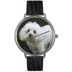 Bichon Black Leather And Silvertone Photo Watch #T01300