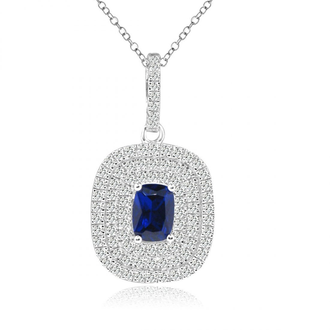 Sterling Silver Rhodium Plated with Simulated Sapphire