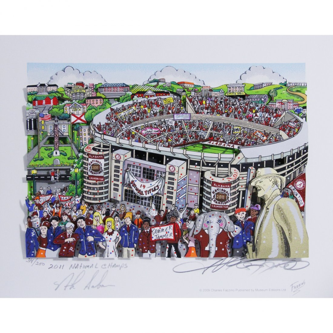 Nick Saban Signed Alabama Pop Art by Charles Fazzino w/