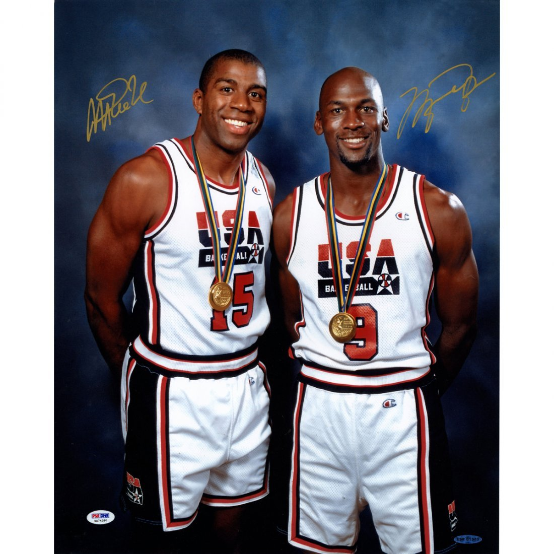 Michael Jordan / Magic Johnson Dual Signed Standing wit
