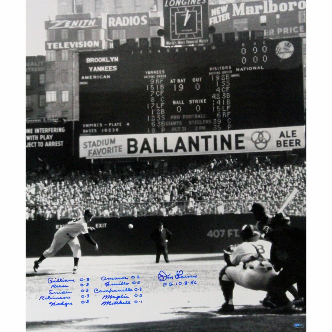 Don Larsen Signed PG First Pitch Vertical 20x24 w/ Perf