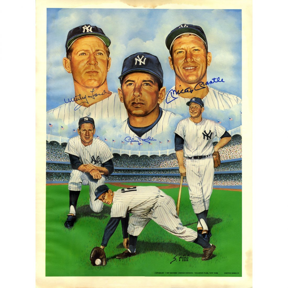 Mickey Mantle, Billy Martin, Whitey Ford Triple Signed
