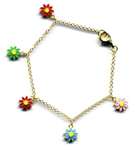 Multi Colored Enamel Flowers Dangling On A Gold Tone Br