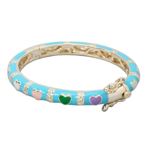 Turquoise Enamel with Multi Color Hearts Gold Plated 50
