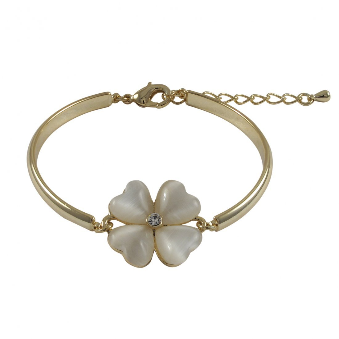 Mother Of Pearl Cat's Eye Stone 20mm Four Leaf Clover F