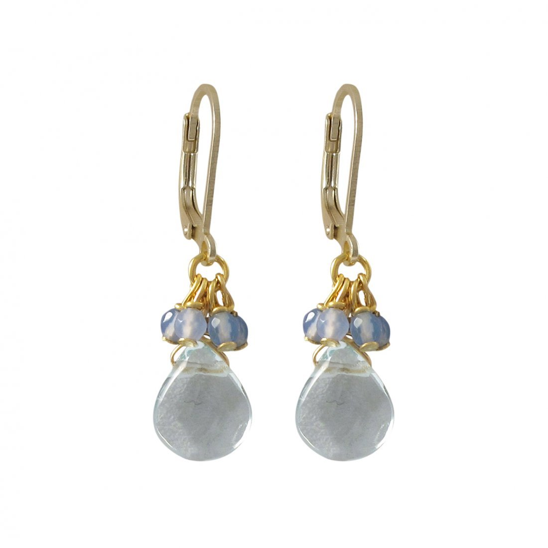 Aqua Semi Precious Stones On Gold Plated Brass Lever Ba