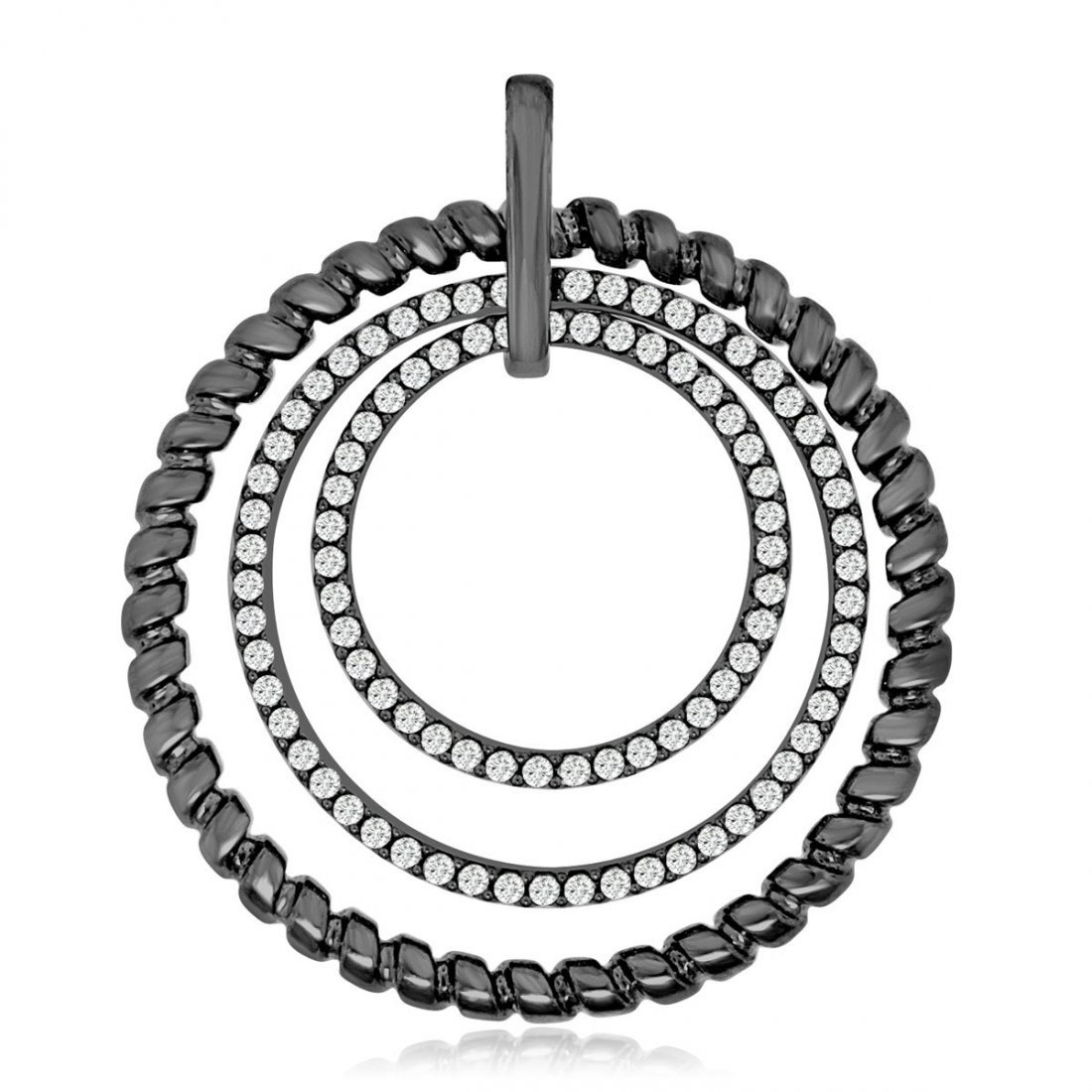 Sterling Silver Black Rhodium Plated and CZ Circular Pe