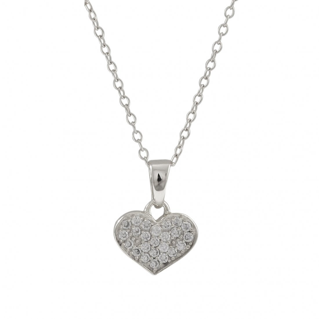Rhodium Plated Sterling Silver 8x10mm Heart Pendant, Wh
