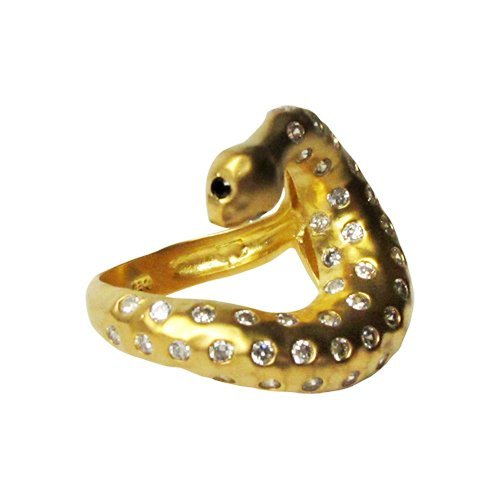 Gold Tone Matte Hammered Brass Snake Ring, With White C