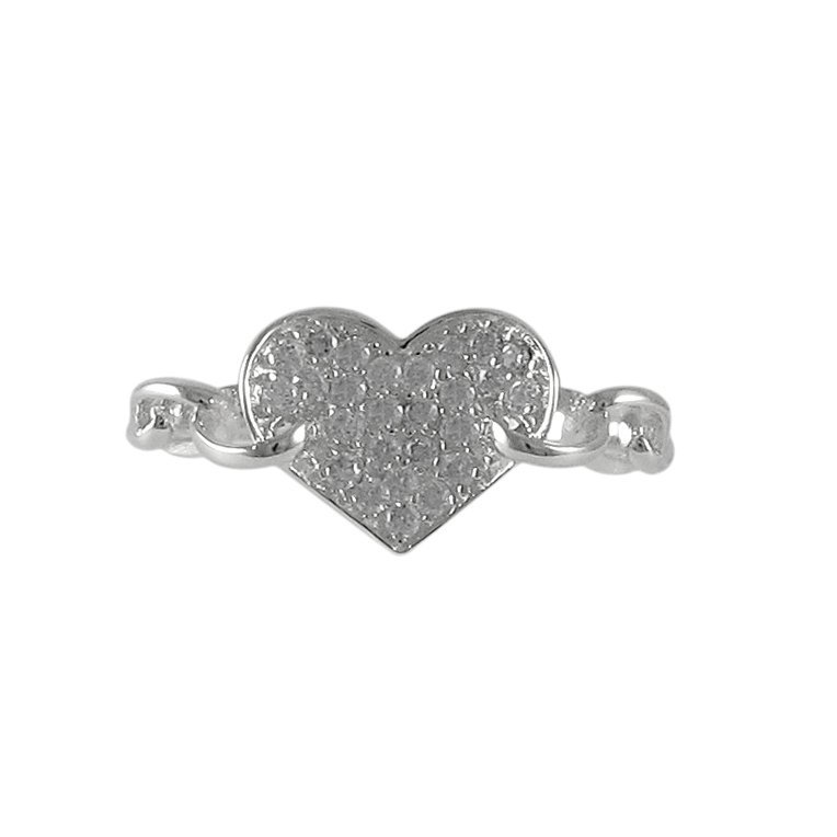 Sterling Silver Heart With CZ Ring Size 5