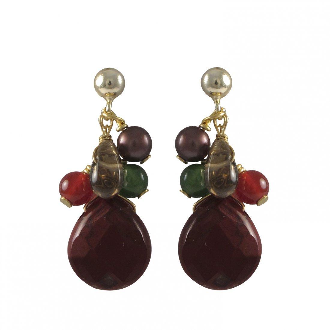 Red Jasper Combination Semi Precious Stones On Gold Fil