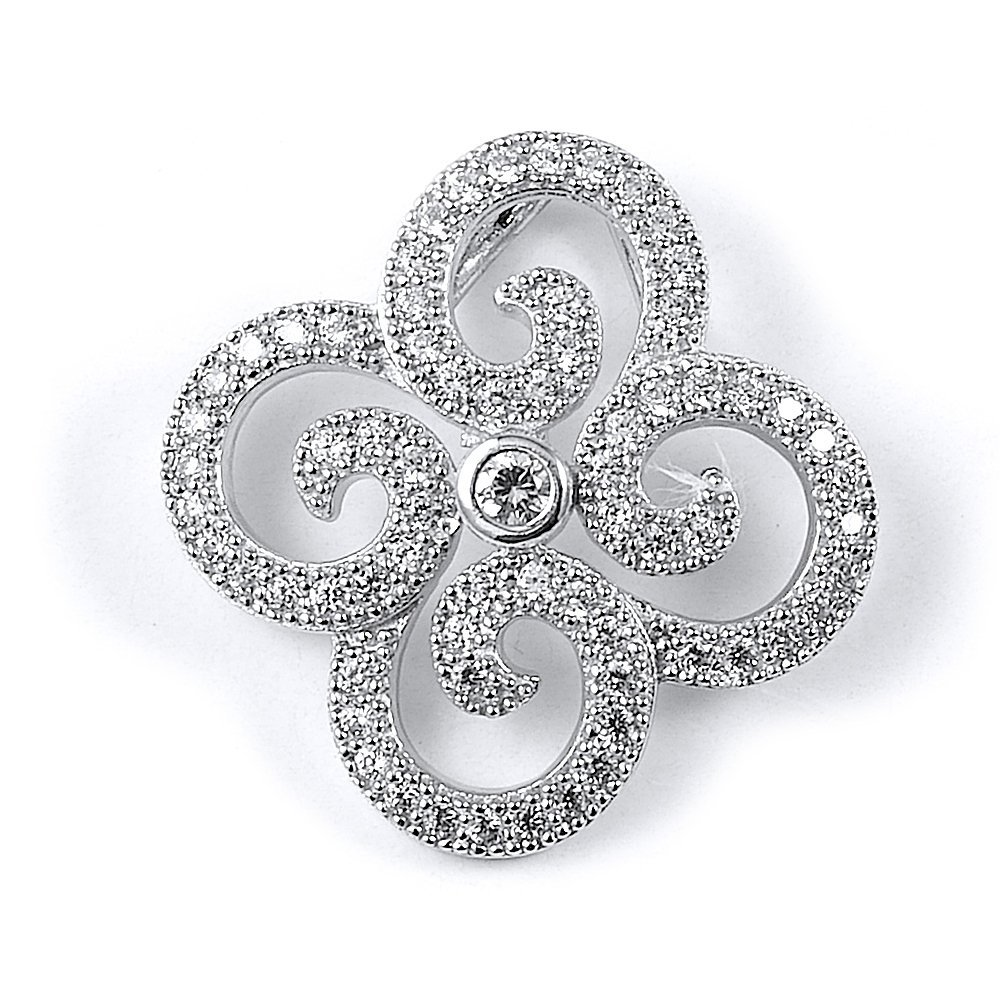 Sterling silver Rhodium and Gold Plated and CZ pendant