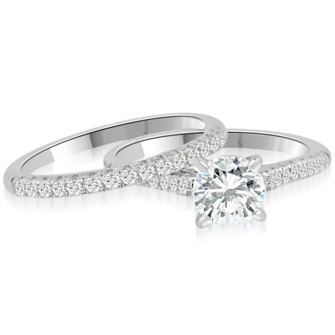 Sterling Silver Rhodium Plated and CZ Engagement Ring