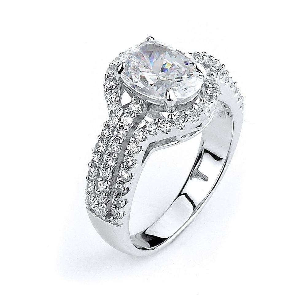 Sterling Silver and CZ Triple Shank Halo Engagement Rin