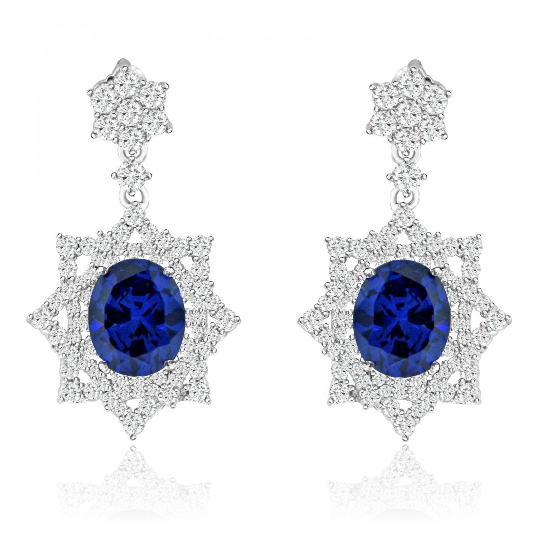 Sterling Silver Rhodium Plated with Simulated Tanzanite